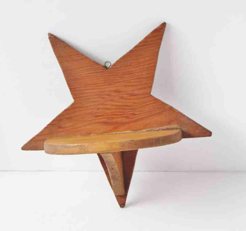 Small vintage wooden star shelf