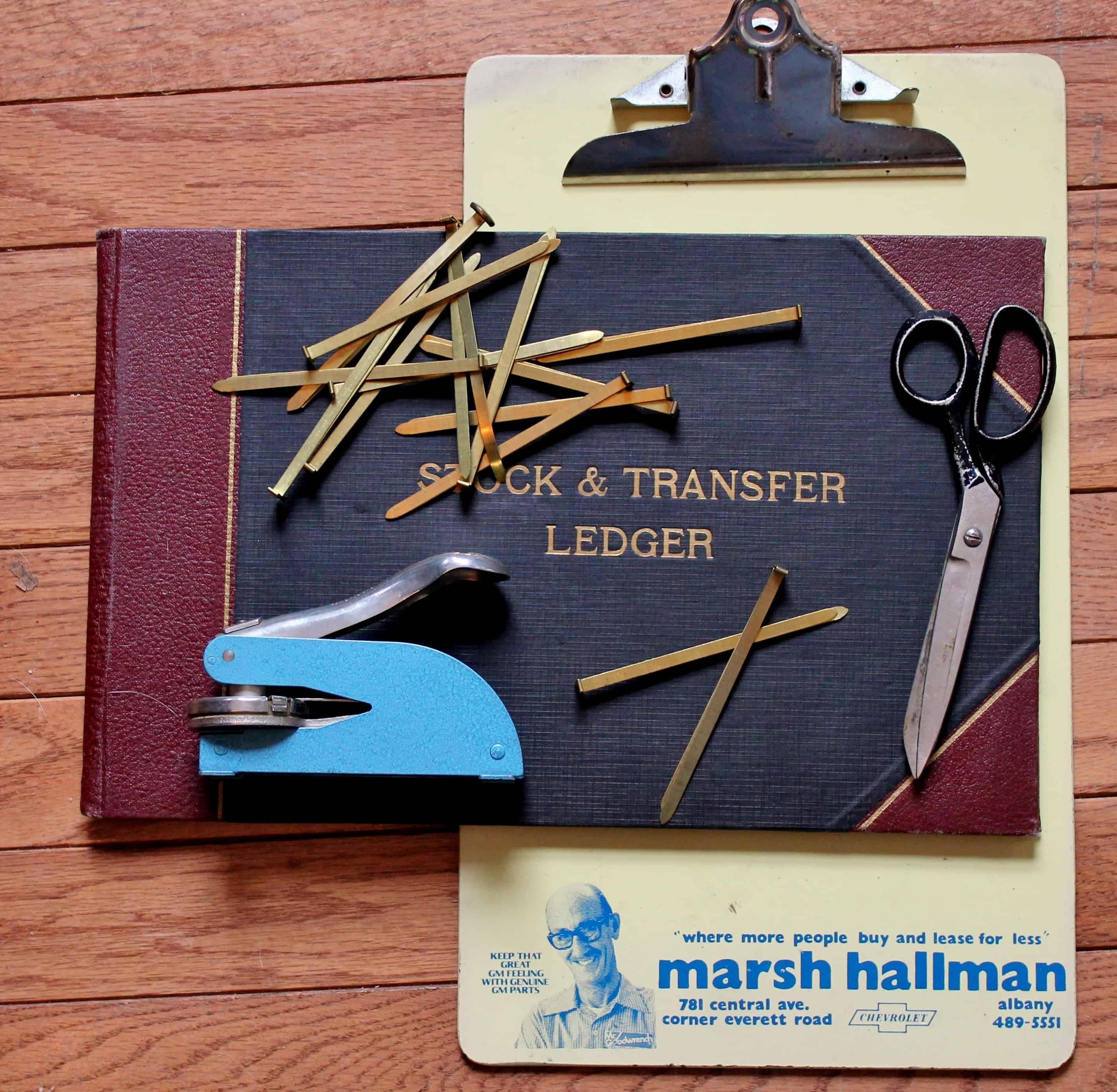 Vintage clip board, stapler, scissors, ledger