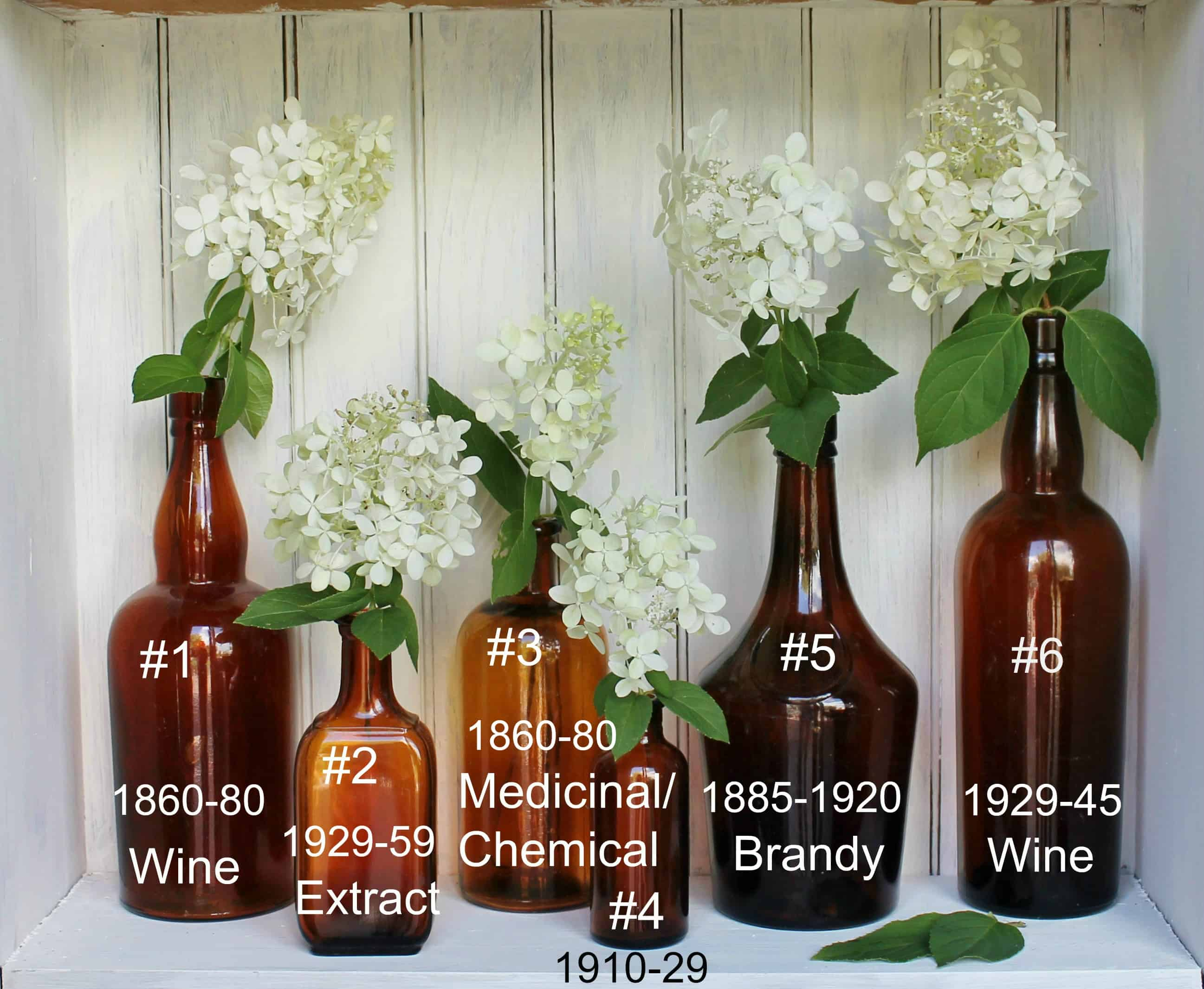 Vintage amber bottles numbered and dated