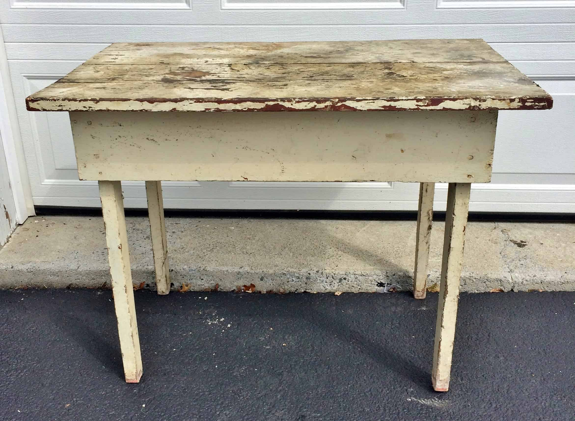 Grungy old white farm table