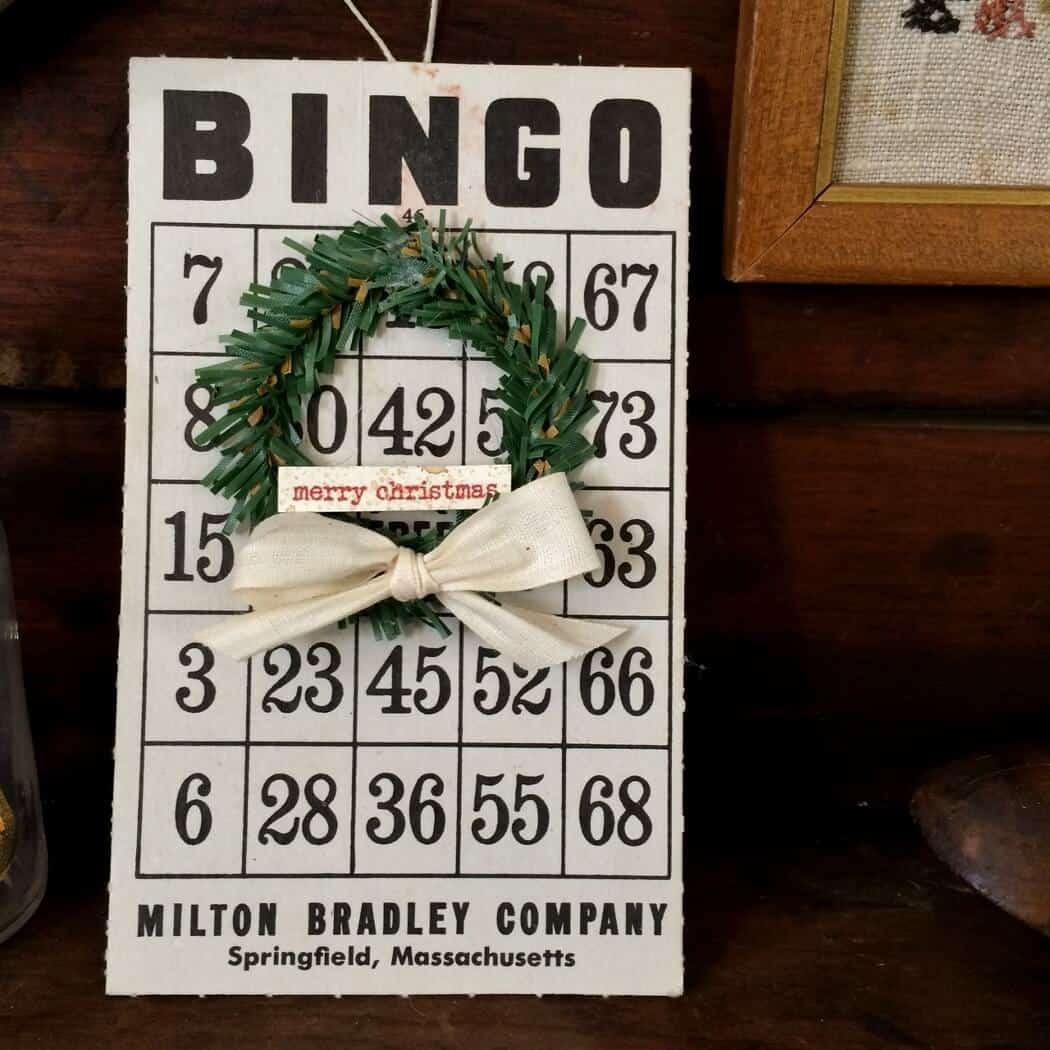 Vintage Bingo Card with Mini Wreath