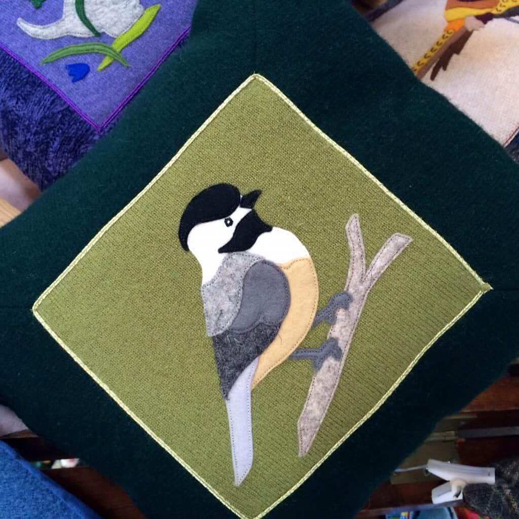 Chickadee pillow