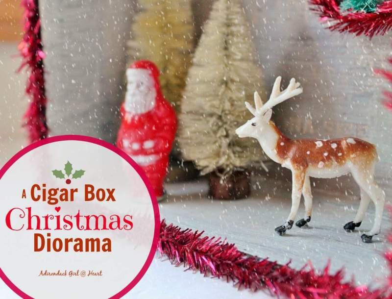 Santa and a deer in a winter wonderland