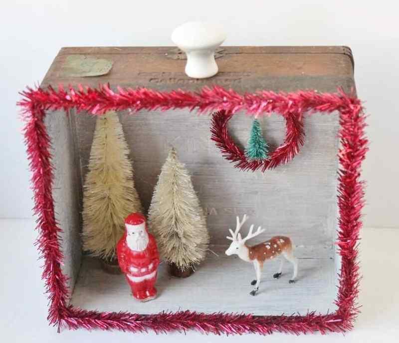 vintage santa and deer in winter wonderland