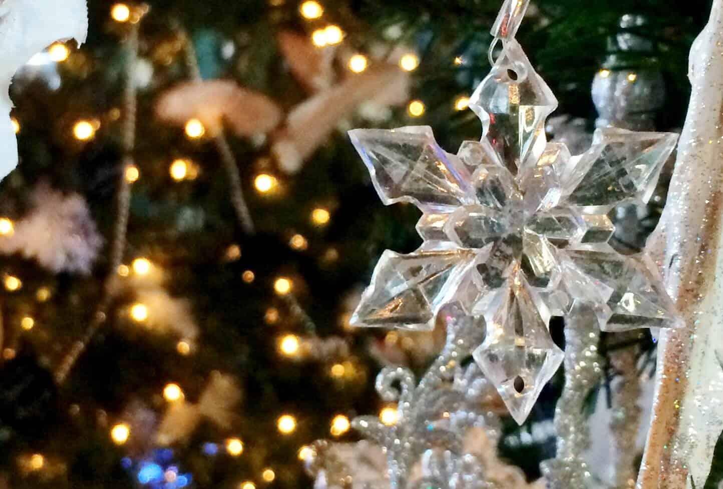 snowflake ornament and christmas lights