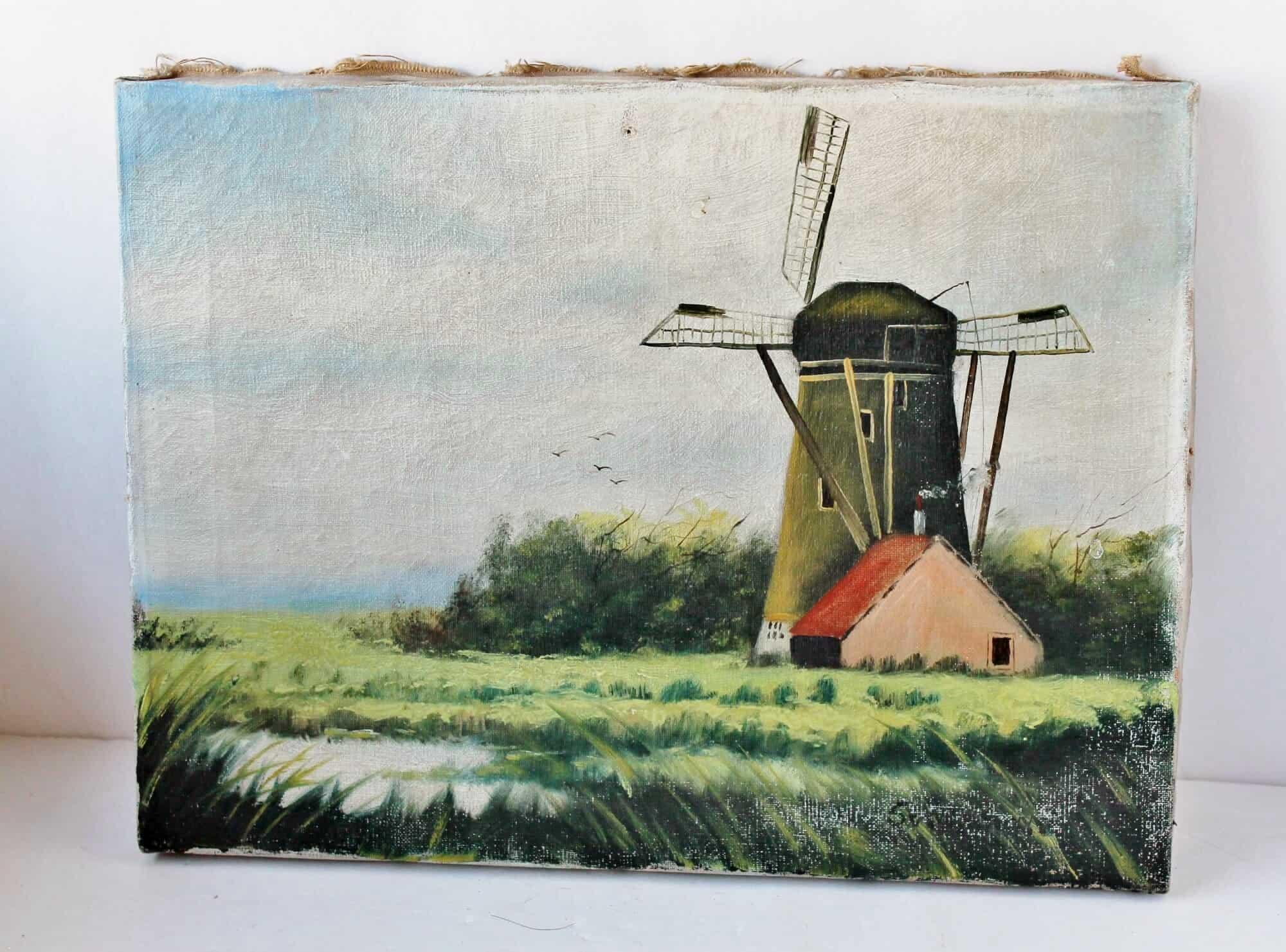Antique dutch landscape painting of wind mill