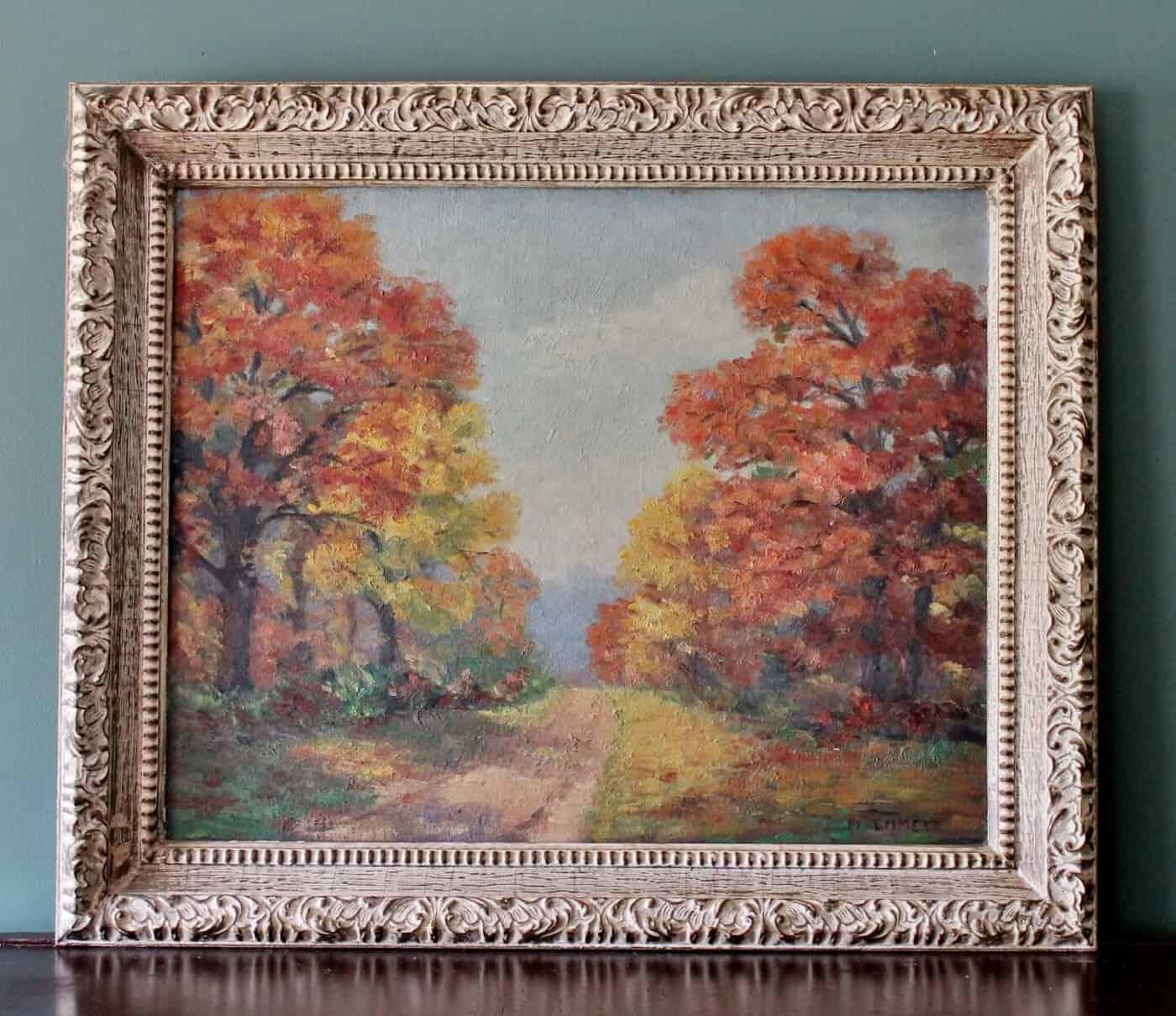 Vintage Impressionistic Style Landscape Painting