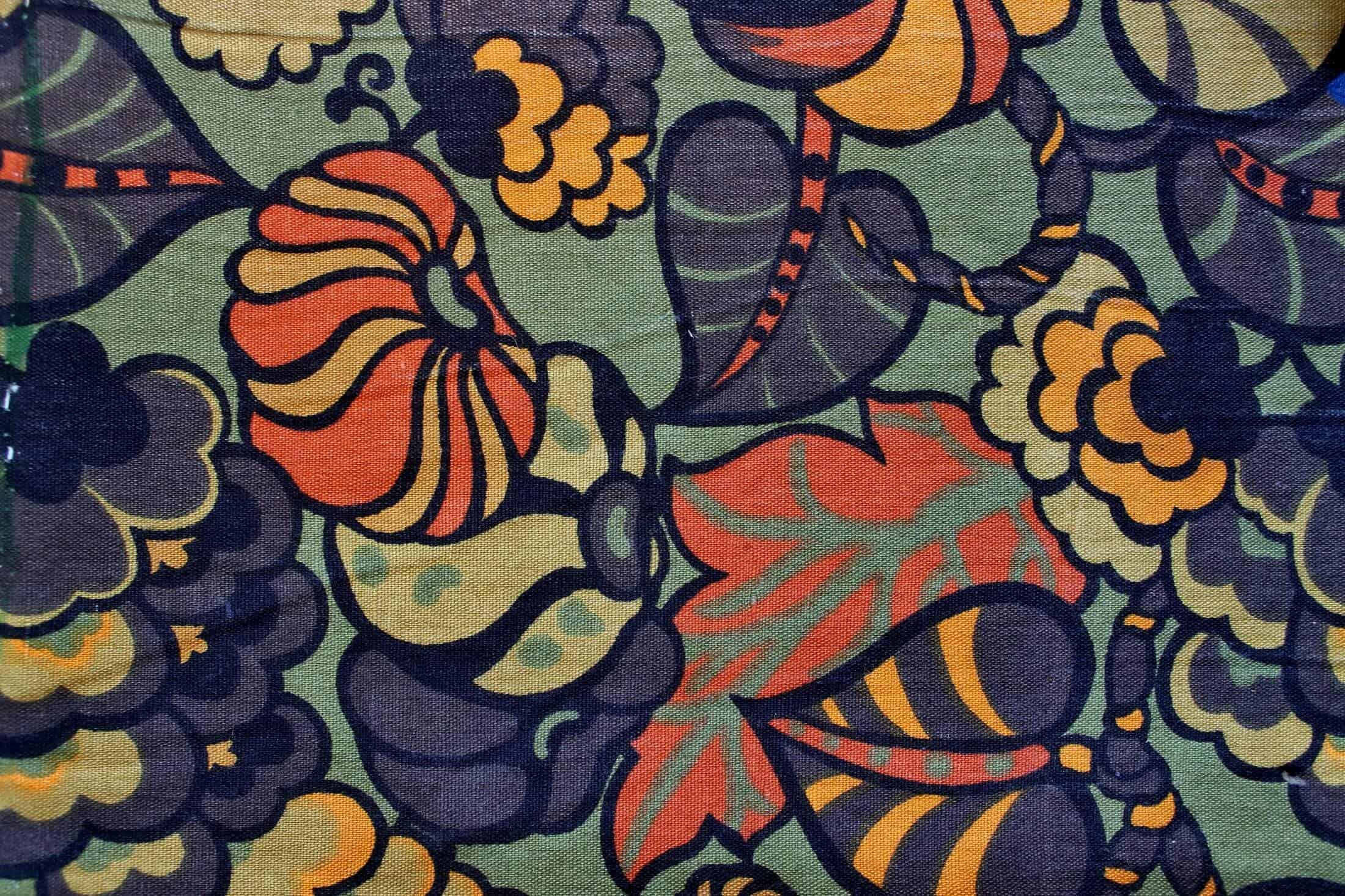 Vintage green yellow orange fabric