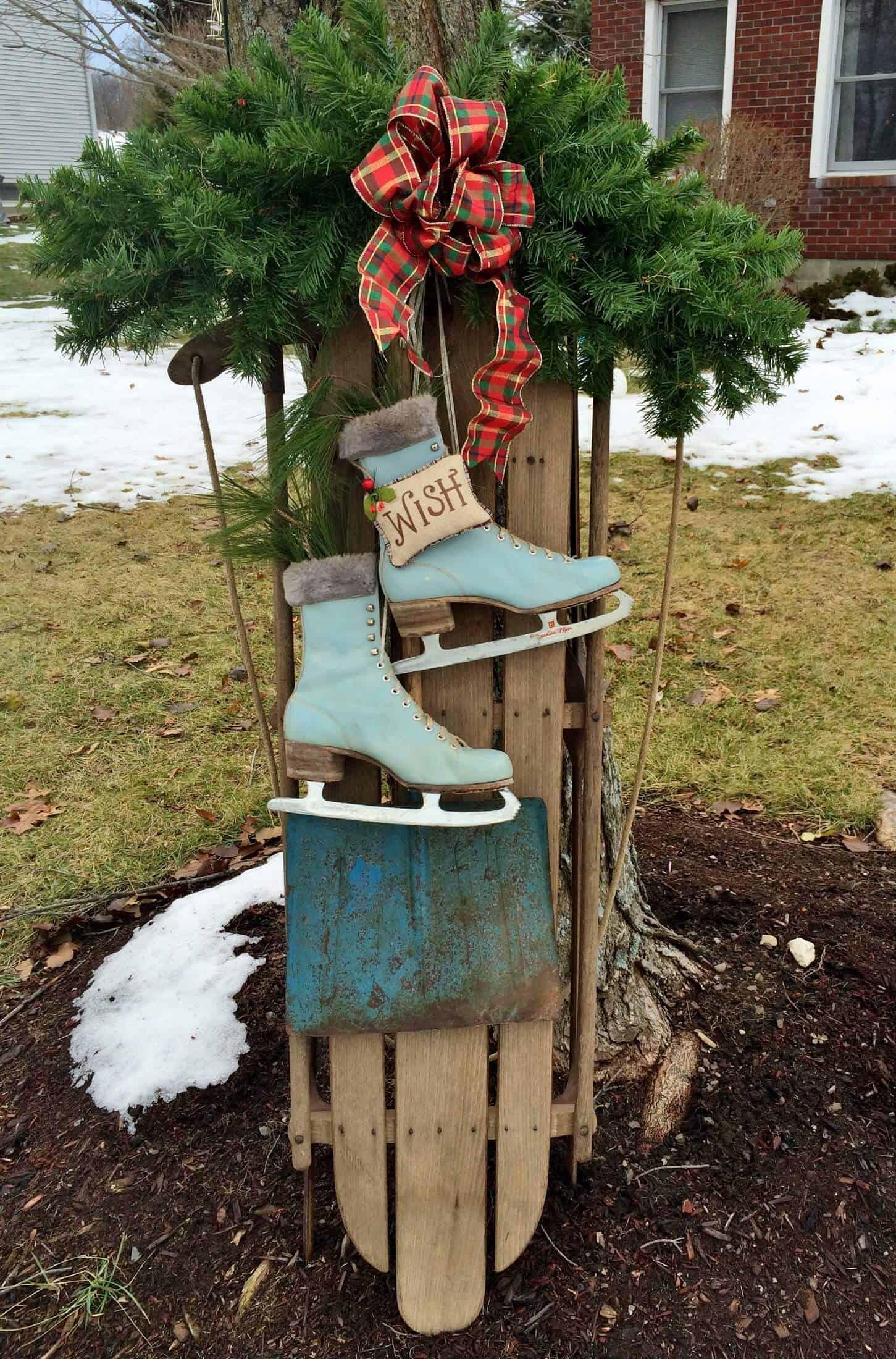 vintage sled with blue skates