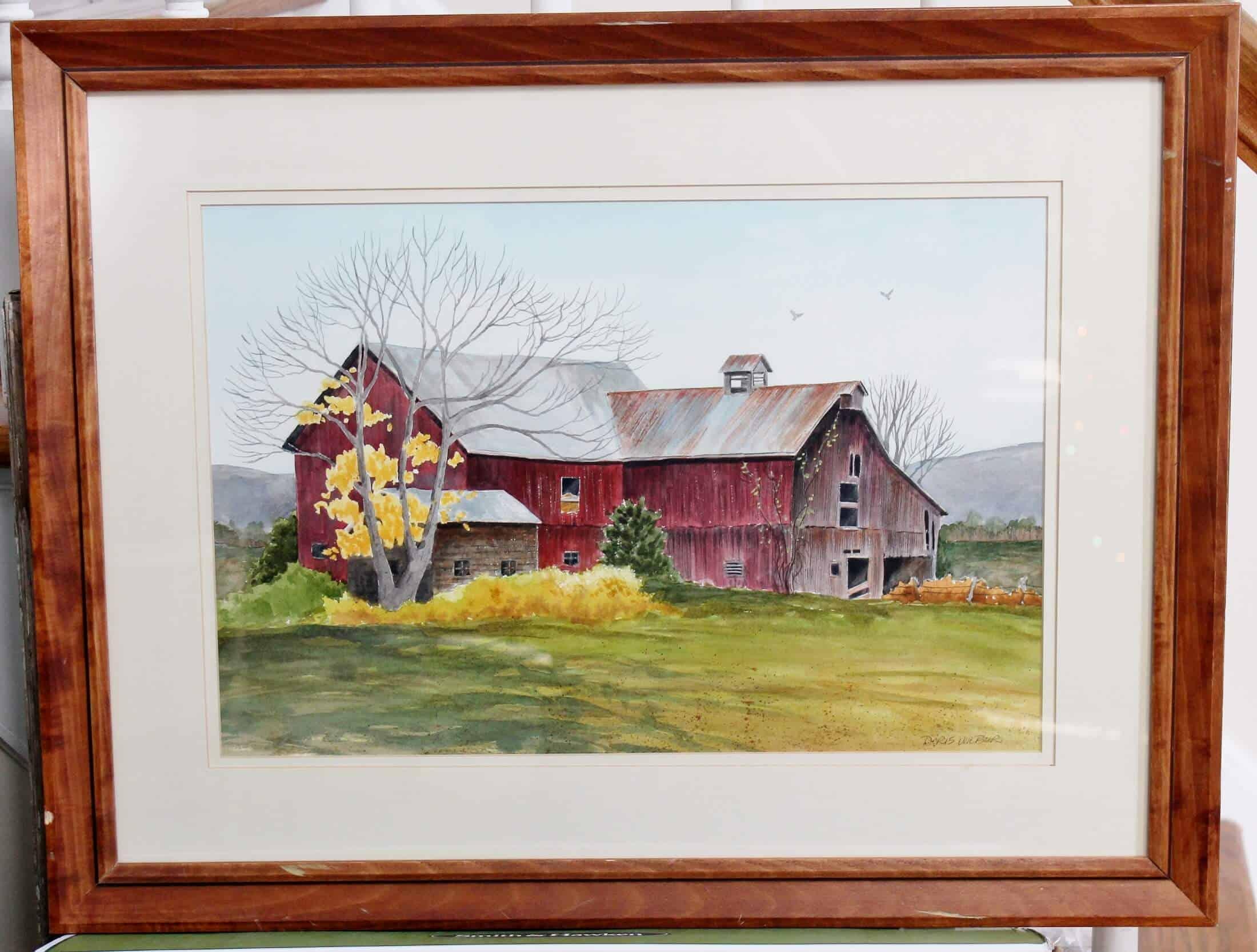 framed watercolor barn