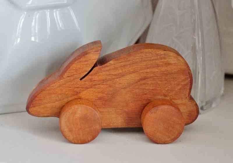 Wooden bunny on wheels