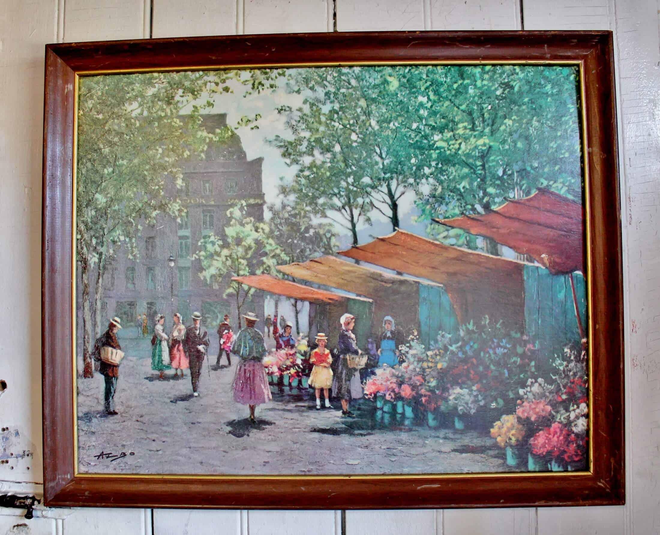 print on board of flower market