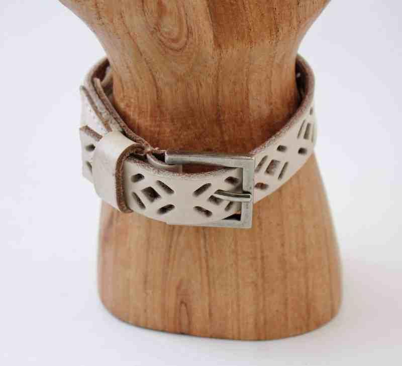 white leather belt upcycled into a bracelet