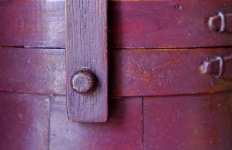 close up of vintage wooden firkin