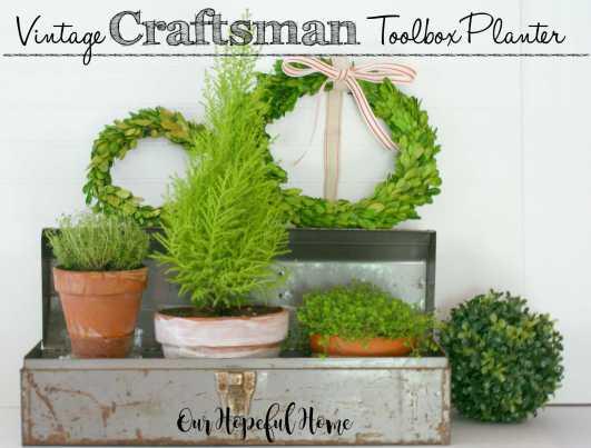 vintage toolbox planter