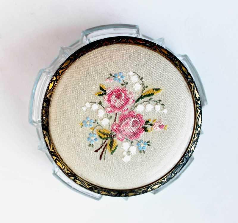 embroidered vanity jar lid