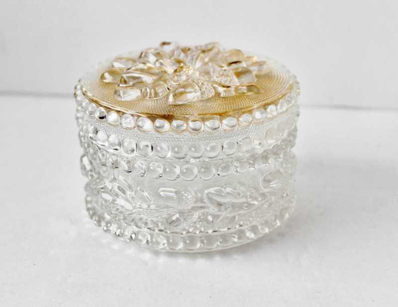 glass and gilt vanity jar