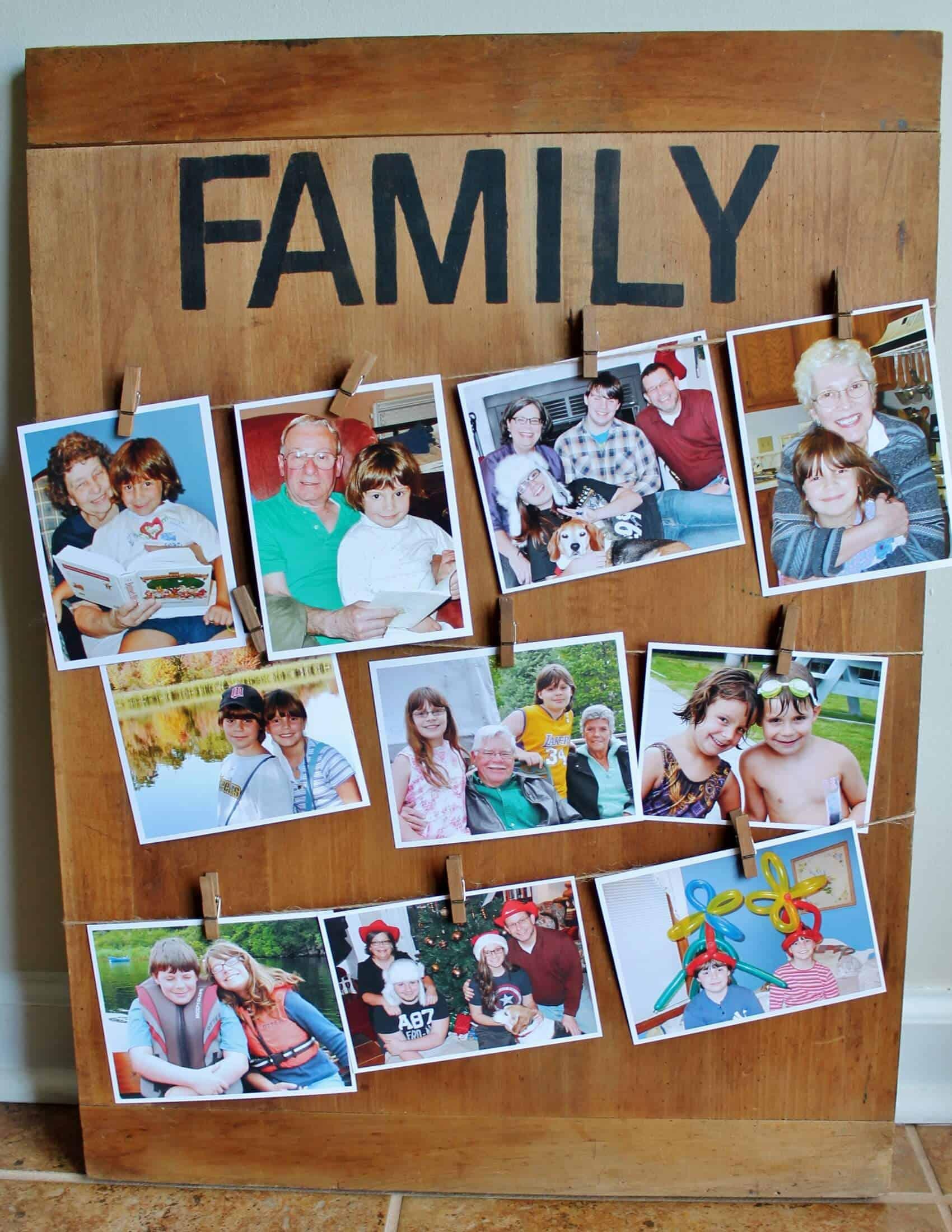 Family bread board with family photos