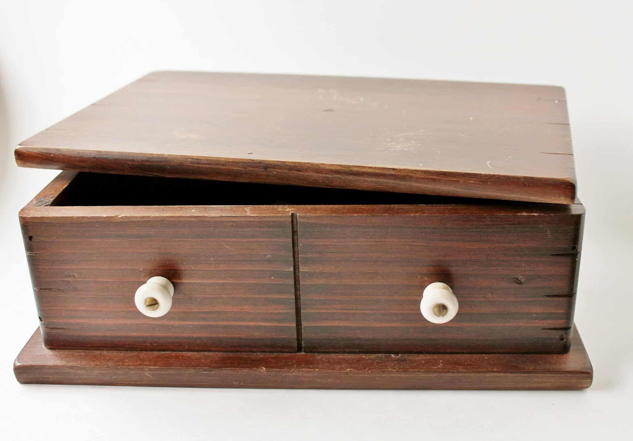 small vintage wooden valet dresser box