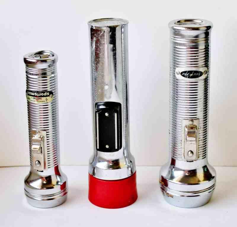 set of three vintage flashlights