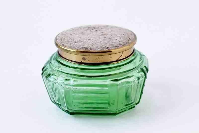 vintage green glass vanity jar
