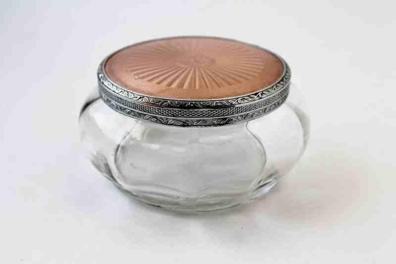 vintage dresser jar with pink lid