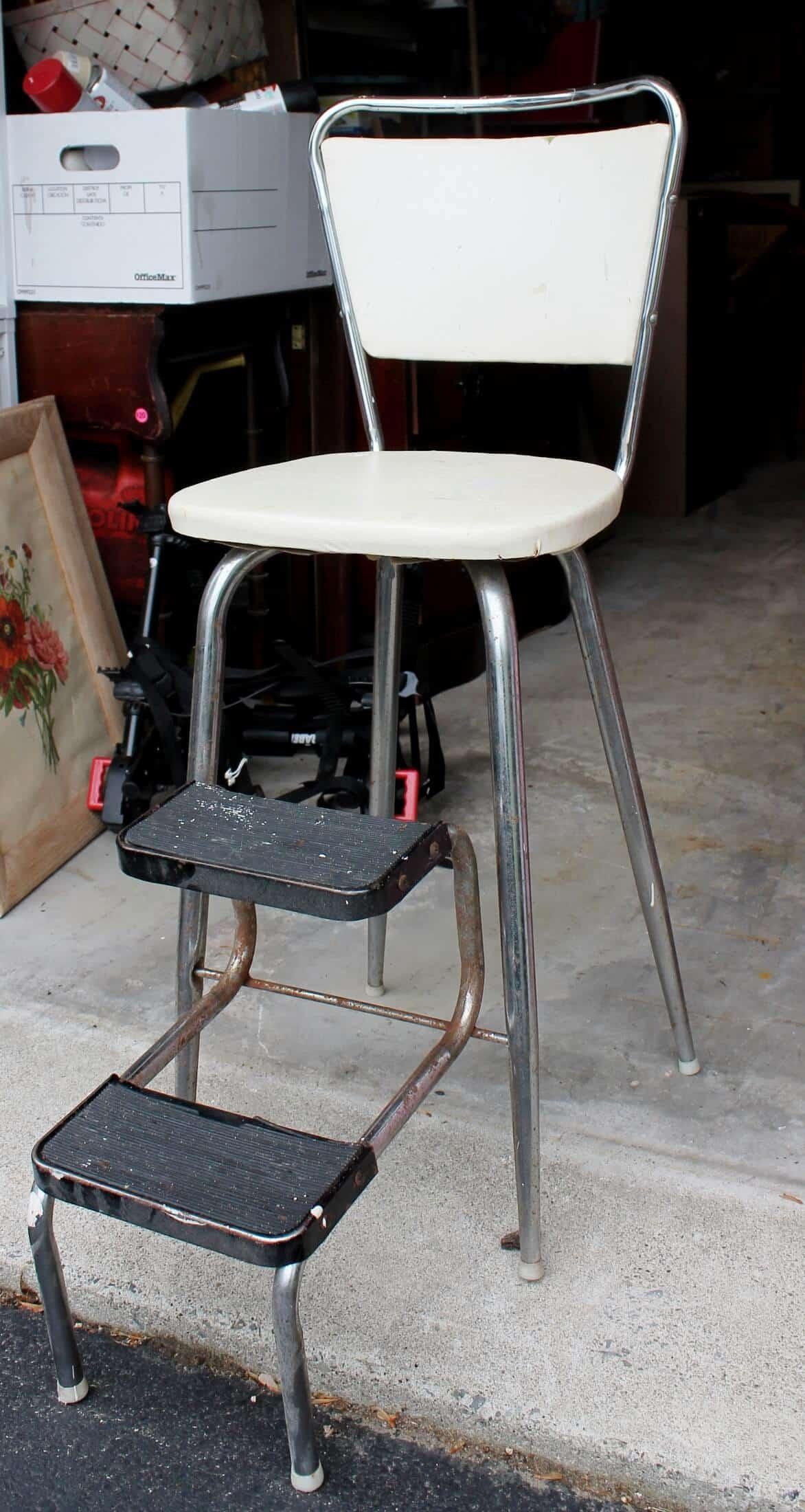 Vintage White Stool