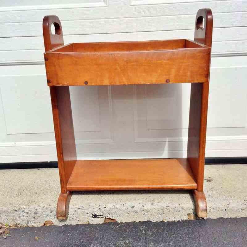 vintage orange-y plant stand