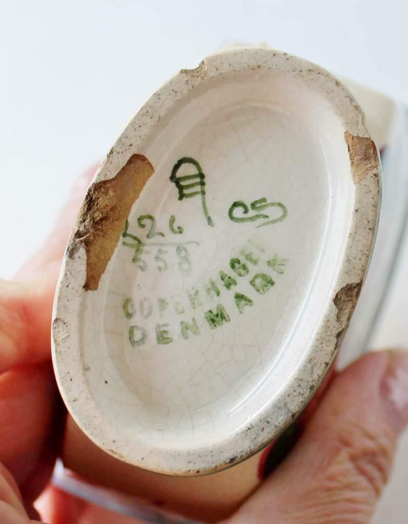 denmark mark on bottom of ceramic flower frog