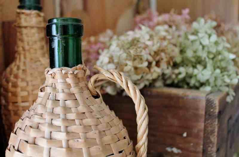 vintage rattan bottle