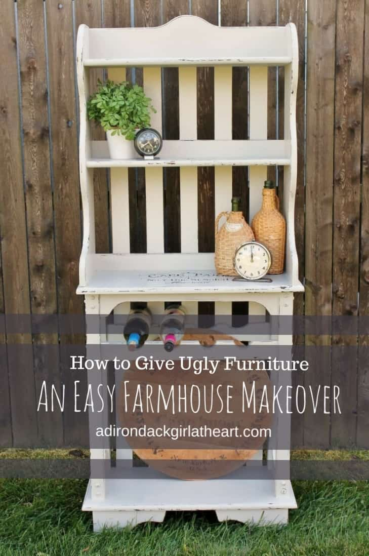 how to give ugly furniture (a bakers rack, e.g.,) a farmhouse makeover adirondackgirlatheart.com