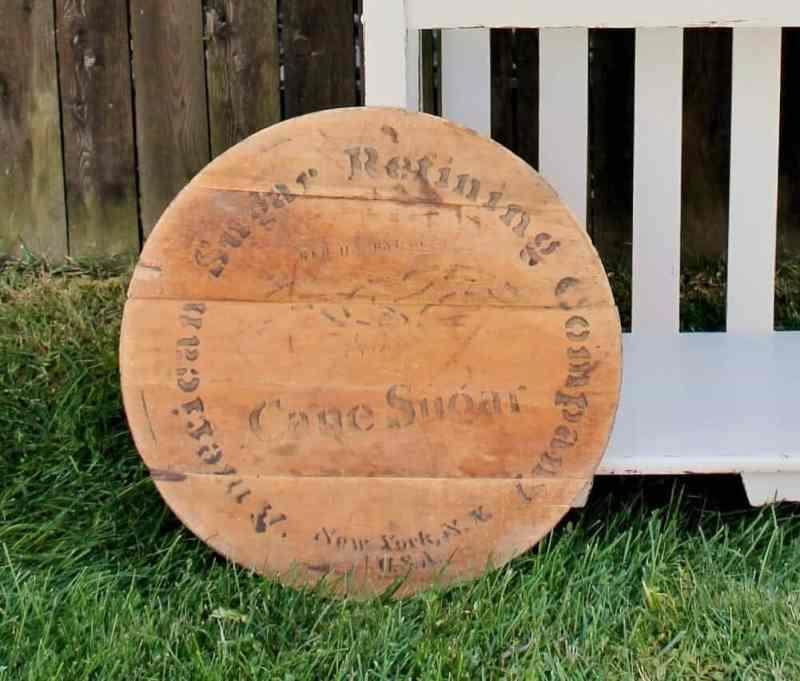 vintage ny sugar barrel lid