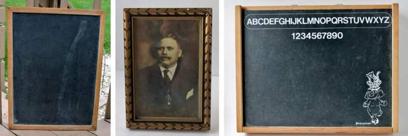 vintage chalkboards and frame