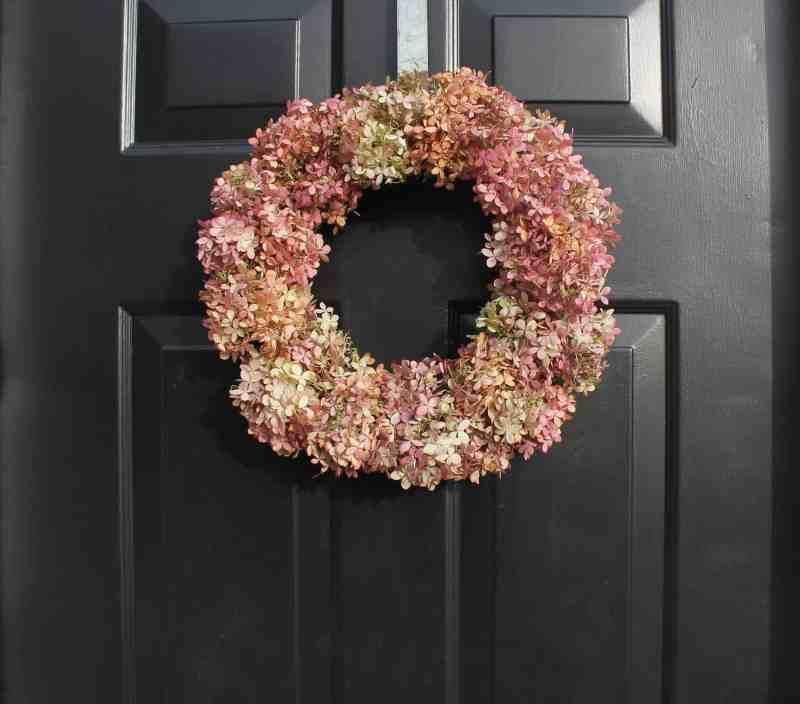 romantic hydrangea wreath on front door
