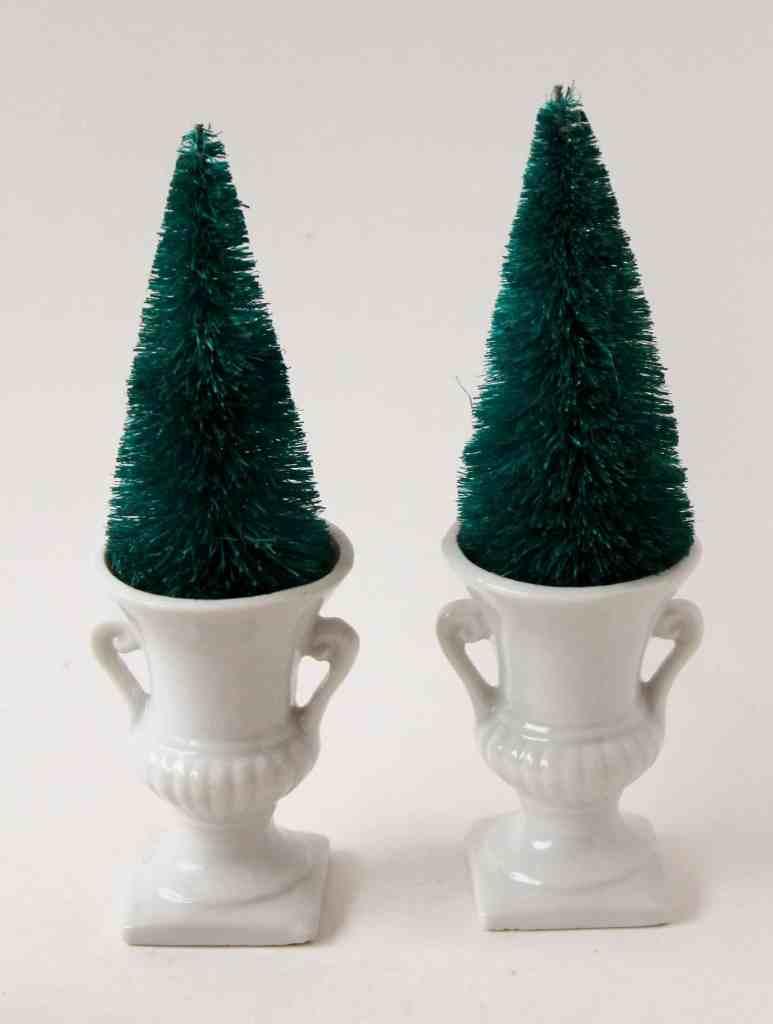 bottle brush trees in ironstone urn toothpicks