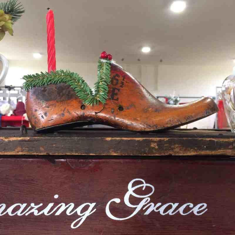 christmas decorated shoe last