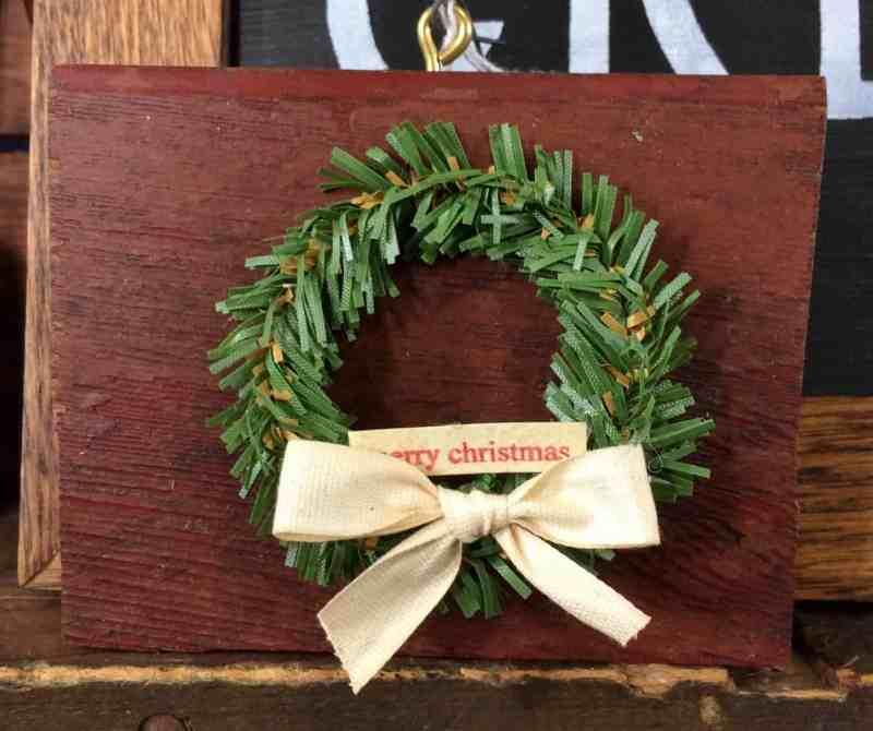 mini wreath on vintage wood