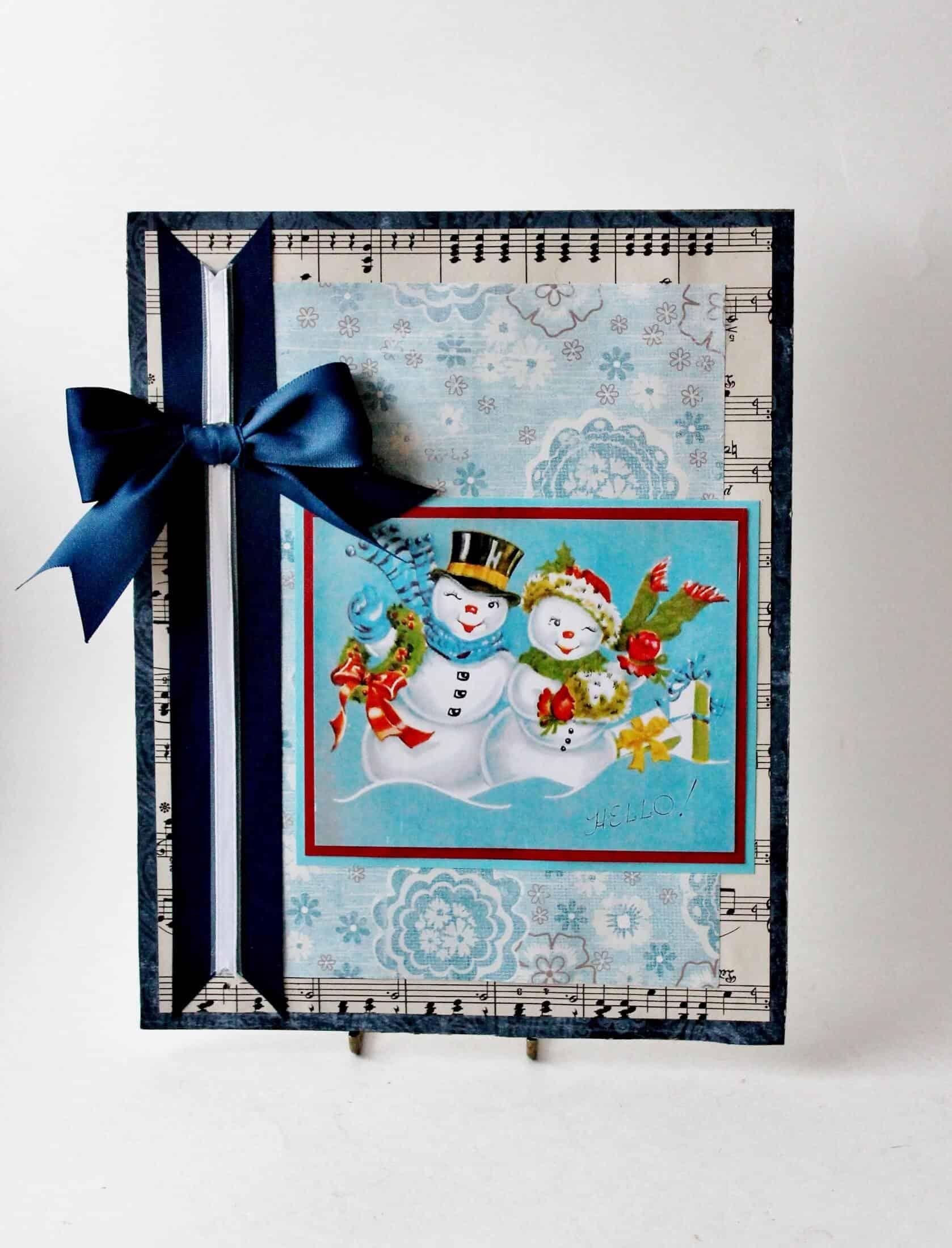 vintage mr. and mrs. snowman christmas card art