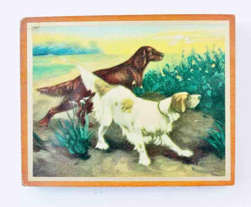 vintage dog print on wood