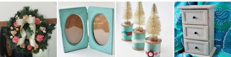 wreath, aqua frame, vintage thread with bottle brush trees