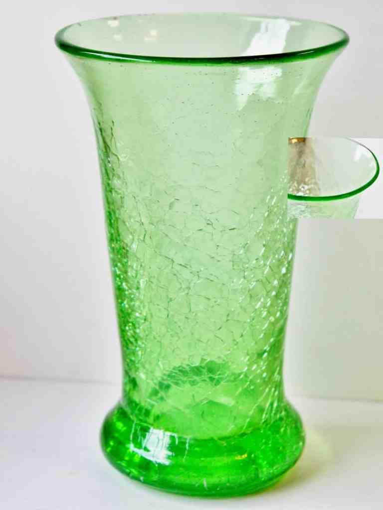 green crackle glass vase