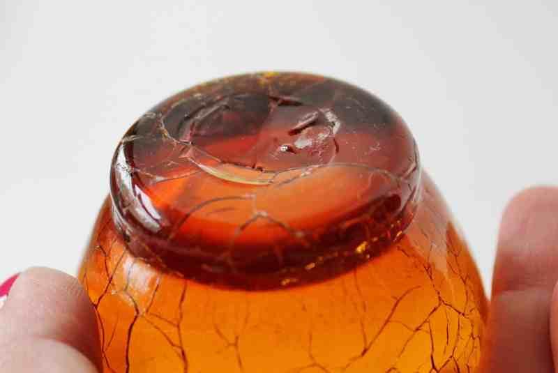 vintage amber crackle glass pontil mark