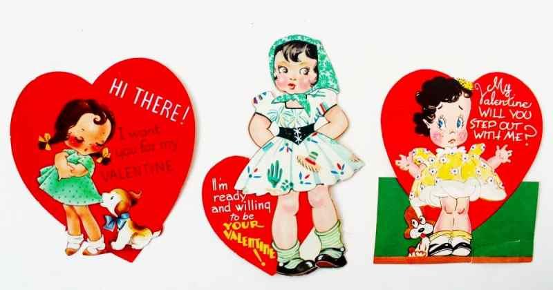 trio of vintage valentines