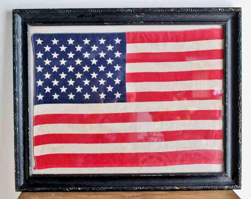 framed vintage flag
