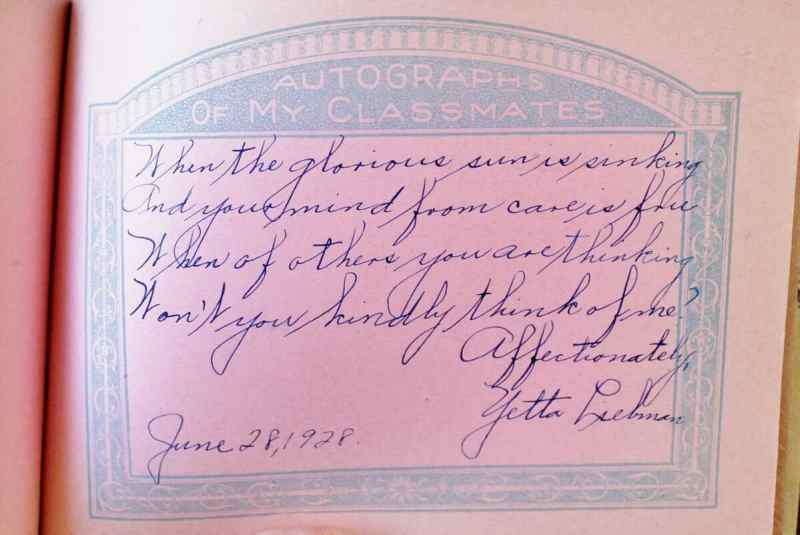 page from a vintage autograph book