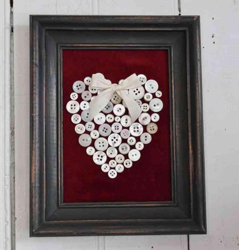framed vintage button heart