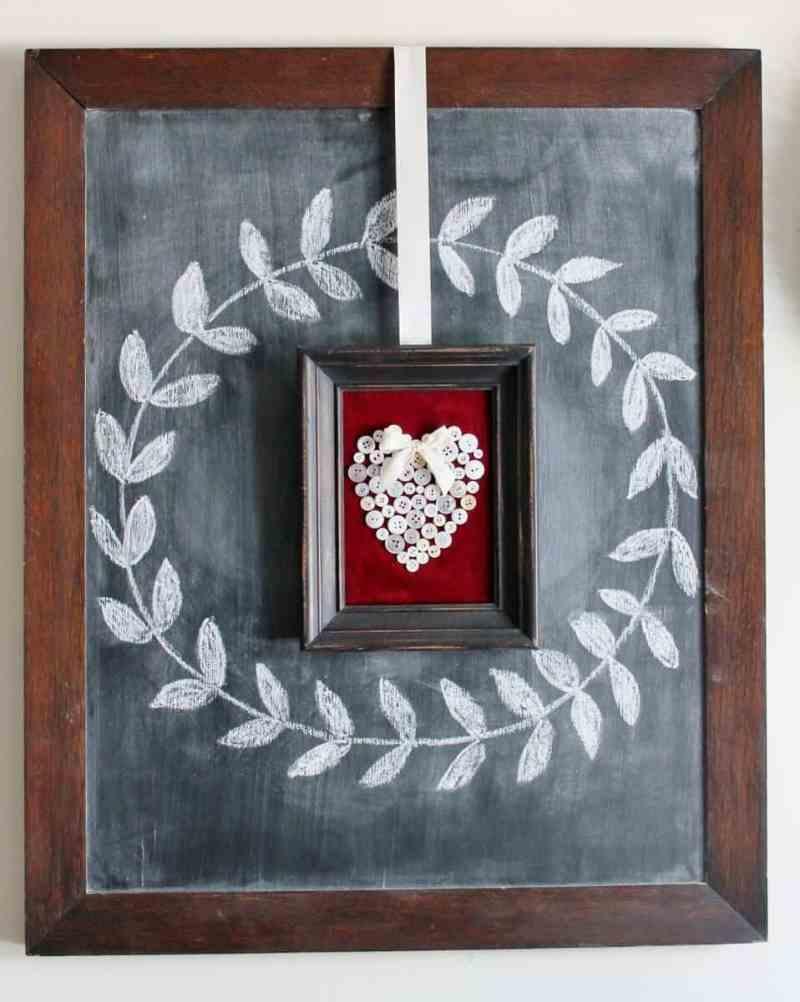 framed vintage button heart on chalkboard