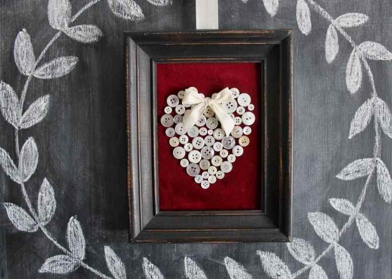 vintage button heart on chalkboard