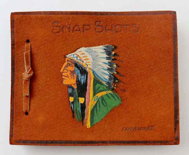 vintage leather souvenir photo album