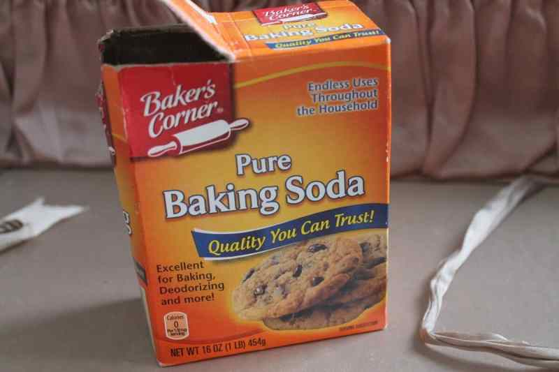 baking soda inside vintage suitcase